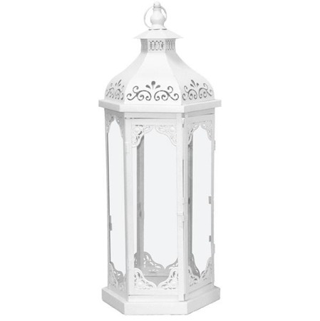 Lampion metalowy biały H:80 cm