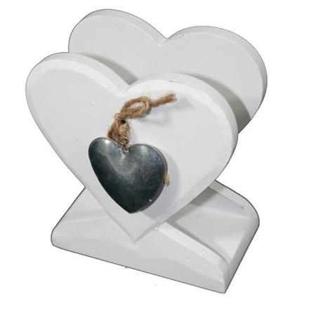 Serwetnik drewniany biały metalowe serce 13,5x12x6