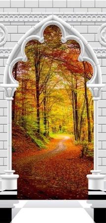 Fototapeta na drzwi - Tapeta na drzwi - Łuk gotycki i las jesienią