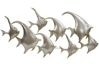 Dekoracja Ścienna Rybki Metalowy Srebrny B:102cm