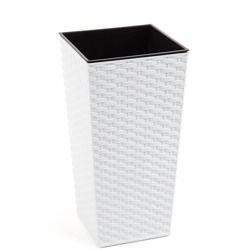 Doniczka Finezja z wkładem Ratan Biały 30x30 H:57