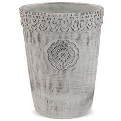 Duża Podłużna Osłonka Cementowa Szara Etno, h:23cm