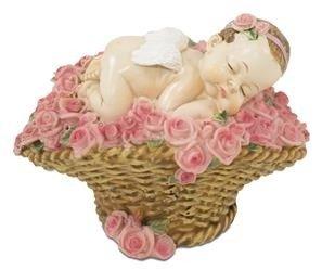 Figurka Dziecko Śpiące na Koszu Kwiatów, 10x13x9,5