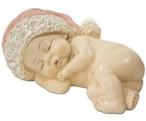 Figurka Śpiące Niemowlę w Czapeczce, 6x12,5x7cm