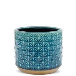 Mała Stylowa Osłonka Ceramiczna Turkusowa h:10,5cm