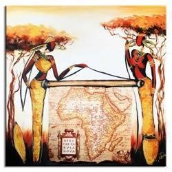 Obraz - Afryka - olejny, ręcznie malowany 60x60cm