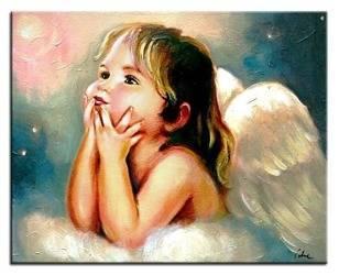 """Obraz """"Anioły"""" ręcznie malowany 40x50cm"""
