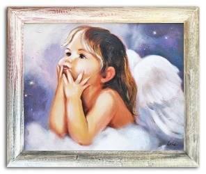 """Obraz """"Anioły"""" ręcznie malowany 53x63cm"""