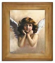 """Obraz """"Anioły"""" ręcznie malowany 61x71cm"""