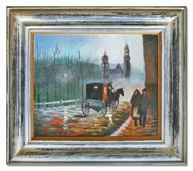"""Obraz """"Architektura"""" ręcznie malowany 35x40cm"""