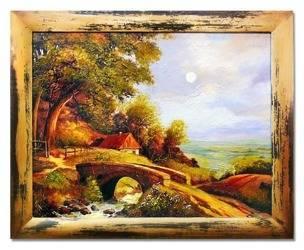 Obraz - Dworki, mlyny, chaty, - olejny, ręcznie malowany 53x63cm
