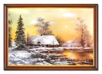 Obraz - Dworki, mlyny, chaty, - olejny, ręcznie malowany 72x102cm