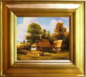 """Obraz """"Dworki, mlyny, chaty,"""" ręcznie malowany 43x48cm"""