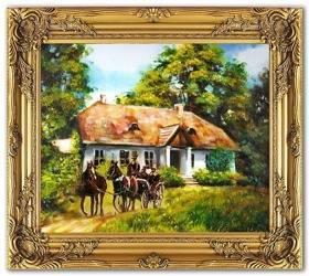 """Obraz """"Dworki, mlyny, chaty,"""" ręcznie malowany 53x64cm"""