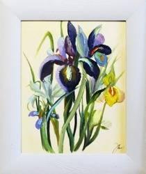 """Obraz """"Irysy"""" ręcznie malowany 27x32cm"""