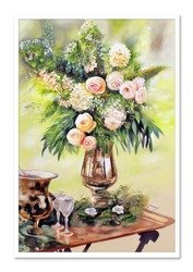 """Obraz """"Kwiaty nowoczesne"""" ręcznie malowany 63x93cm"""
