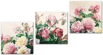 """Obraz """"Kwiaty"""" reprodukcja 30x30 cm x 3"""