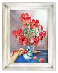 """Obraz """"Lilie"""" ręcznie malowany 37x47cm"""