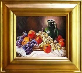 """Obraz """"Martwa natura tradycyjna"""" ręcznie malowany 43x48cm"""