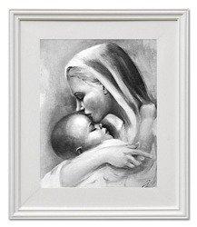 """Obraz """"Maryja"""" ręcznie malowany 27x32cm"""
