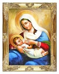 """Obraz """"Maryja"""" ręcznie malowany 37x47cm"""