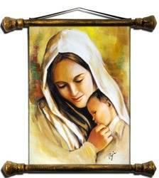 """Obraz """"Maryja"""" ręcznie malowany 37x62cm"""