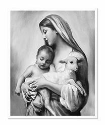"""Obraz """"Maryja"""" ręcznie malowany 43x53cm"""
