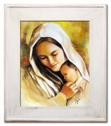 """Obraz """"Maryja"""" ręcznie malowany 59x69cm"""