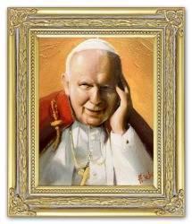 Obraz - Papież Jan Paweł II - olejny, ręcznie malowany 27x32cm