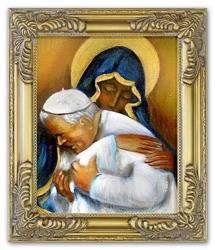 """Obraz """"Papież Jan Paweł II"""" ręcznie malowany 27x32cm"""