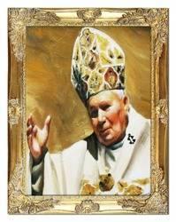 """Obraz """"Papież Jan Paweł II"""" ręcznie malowany 37x47cm"""