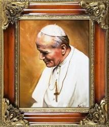"""Obraz """"Papież Jan Paweł II"""" ręcznie malowany 65x75cm"""