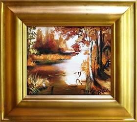 """Obraz """"Pejzaz tradycyjny"""" ręcznie malowany 43x48cm"""