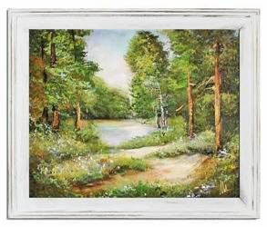 """Obraz """"Pejzaz tradycyjny"""" ręcznie malowany 53x64cm"""