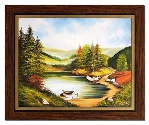 """Obraz """"Pejzaz tradycyjny"""" ręcznie malowany 54x64cm"""