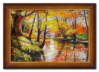 """Obraz """"Pejzaz tradycyjny"""" ręcznie malowany 76x106cm"""