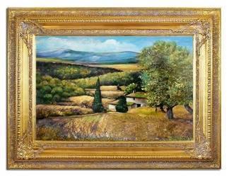 """Obraz """"Pejzaz tradycyjny"""" ręcznie malowany 90x120cm"""