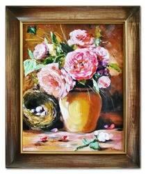 """Obraz """"Piwonie"""" ręcznie malowany 50x60cm"""