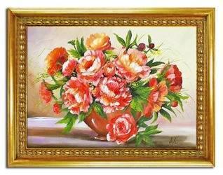 """Obraz """"Piwonie"""" ręcznie malowany 63x84cm"""