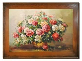 """Obraz """"Piwonie"""" ręcznie malowany 82x112cm"""