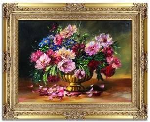 """Obraz """"Piwonie"""" ręcznie malowany 90x120cm"""