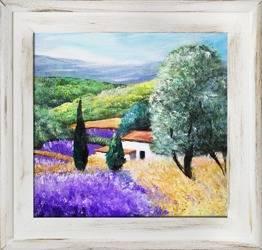 """Obraz """"Pola lawendowe"""" ręcznie malowany 40x40cm"""