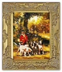 """Obraz """"Polowania"""" ręcznie malowany 27x32cm"""