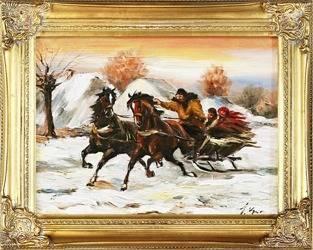 """Obraz """"Polowania"""" ręcznie malowany 37x47cm"""