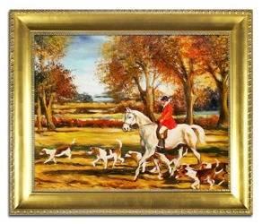 """Obraz """"Polowania"""" ręcznie malowany 53x64cm"""
