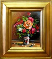 Obraz - Roze - olejny, ręcznie malowany 43x48cm