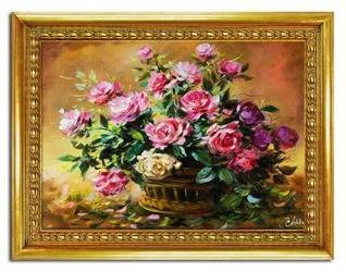 Obraz - Roze - olejny, ręcznie malowany 64x84 cm