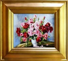 """Obraz """"Roze"""" ręcznie malowany 43x48cm"""