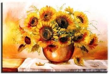 Obraz - Sloneczniki - olejny, ręcznie malowany 60x90cm