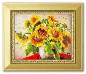 """Obraz """"Sloneczniki"""" ręcznie malowany 26x31cm"""